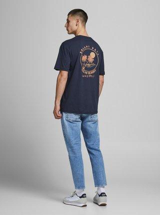 Tmavě modré tričko s potiskem na zádech Jack & Jones Vibes