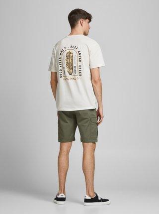 Krémové tričko s potiskem na zádech Jack & Jones Vibes