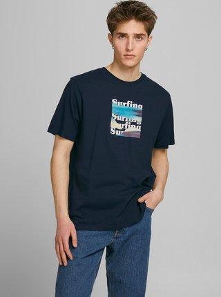 Tmavě modré tričko s potiskem na zádech Jack & Jones