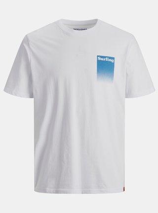 Bílé tričko s potiskem na zádech Jack & Jones