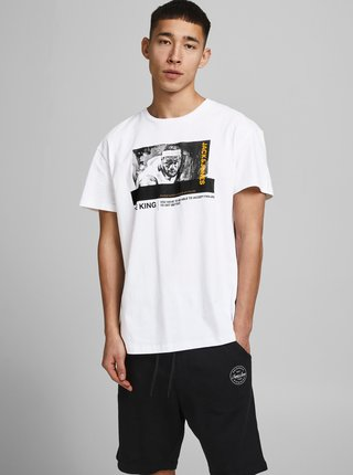 Bílé tričko s potiskem Jack & Jones Legends