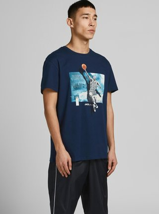 Tmavě modré tričko s potiskem Jack & Jones Legends