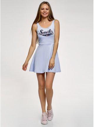 Šaty na ramienkach sa zvonovou sukňou OODJI