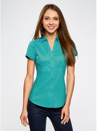 Košile s výstřihem do V a límečkem OODJI