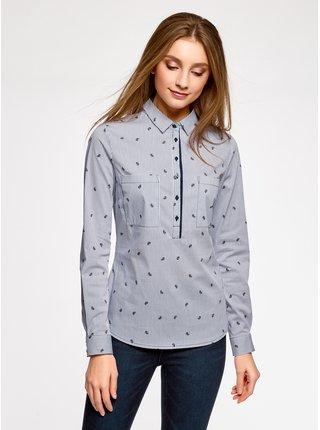 Košeľa vypasovaná s kapsičkami na prsiach OODJI