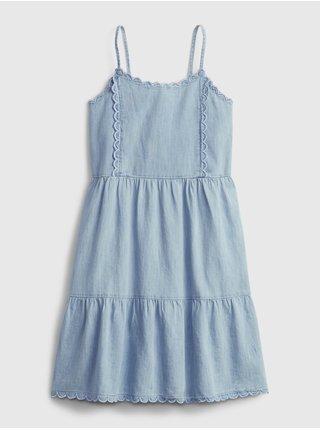 Modré holčičí dětské šaty scalloped tiered denim dress