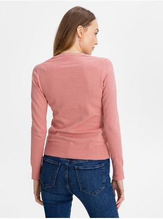 Růžový dámský kardigan GAP crewneck cardigan