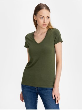 Zelené dámské tričko GAP favorite v-neck t-shirt