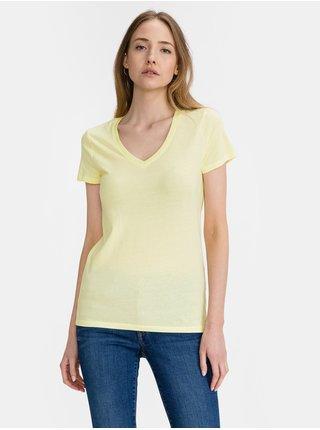Žluté dámské tričko GAP Logo favorite v-neck t-shirt