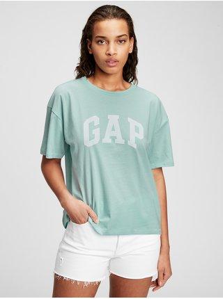Modré dámské tričko GAP Logo easy heavyweight t-shirt