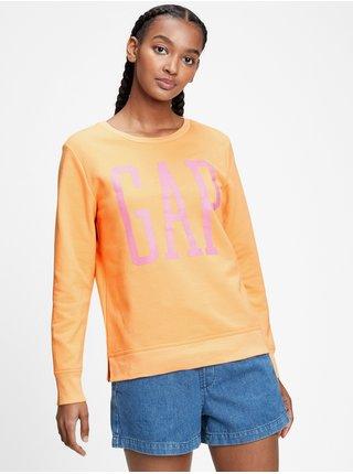 Oranžová dámská mikina GAP Logo crewneck sweatshirt