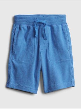 Modré klučičí dětské kraťasy 100% organic cotton mix and match pull-on shorts