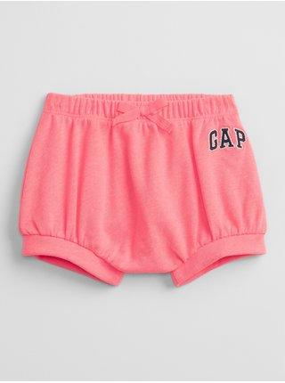 Růžové holčičí baby kraťasy GAP Logo pull-on shorts