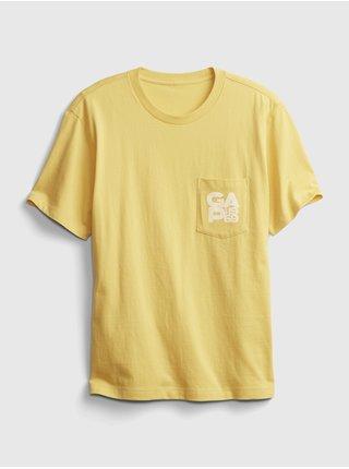 Žluté pánské tričko pocket t-shirt