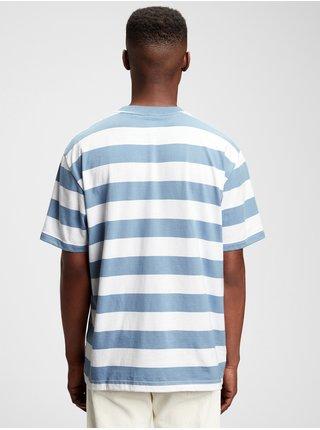 Modré pánské tričko short sleeve strpe t-shirt