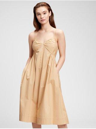 Béžové dámské šaty deep cami midi dress
