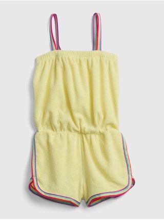 Žlutý holčičí dětský overal rainbow stripe romper