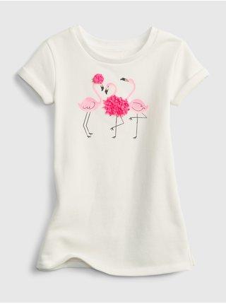 Smetanové holčičí dětské šaty active graphic dress
