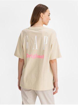 Béžové dámské tričko GAP Logo cya t-shirt