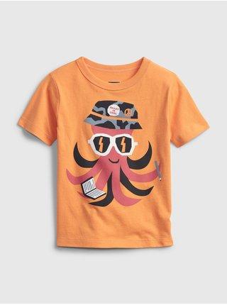 Oranžové klučičí dětské tričko GAP short sleeve graphic t-shirt