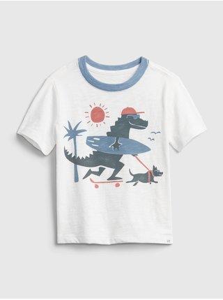 Bílé klučičí dětské tričko GAP short sleeve graphic t-shirt