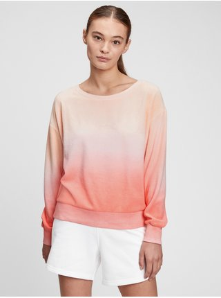 Růžová dámská mikina GAP towel terry crewneck sweatshirt