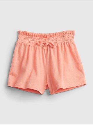 Oranžové holčičí dětské kraťasy summer ptf smocked short