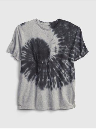 Šedé klučičí dětské tričko GAP teen 100% organic cotton pocket t-shirt