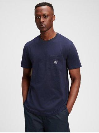 Modré pánské tričko GAP Logo pocket t-shirt