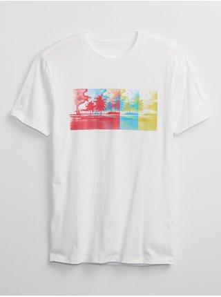 Bílé pánské tričko beach ombre graphic t-shirt