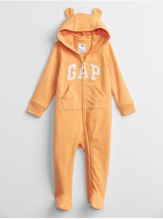 Oranžový holčičí baby overal GAP Logo hoodie one-piece