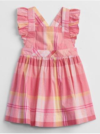 Růžové holčičí baby šaty plaid dress
