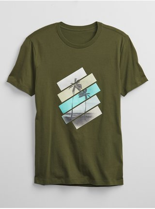 Zelené pánské tričko palm tree graphic t-shirt