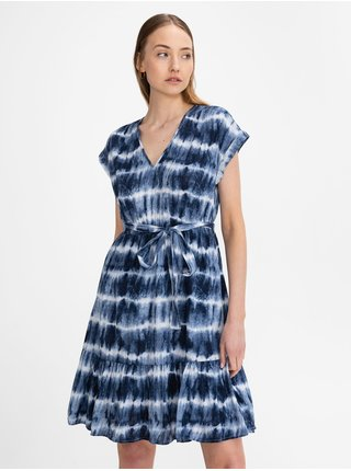 Modré dámské šaty GAP v-neck tie waist dress