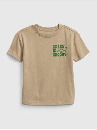 Béžové klučičí dětské tričko GAP gen good graphic t-shirt