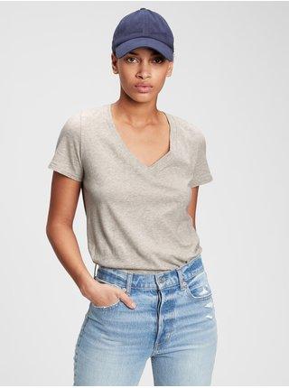 Šedé dámské tričko 100% organic cotton vintage v-neck t-shirt