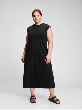 Černé dámské šaty GAP short sleeve maxi dress
