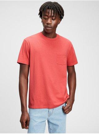 Červené pánské tričko organic cotton pocket t-shirt