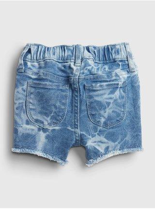 Modré holčičí dětské kraťasy elasticized pull-on tie-dye denim shortie shorts wi