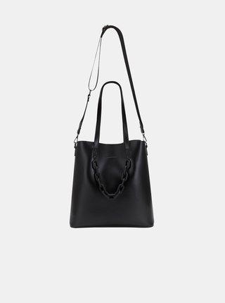 Černá velká kabelka s ozdobným řetízkem Claudia Canova