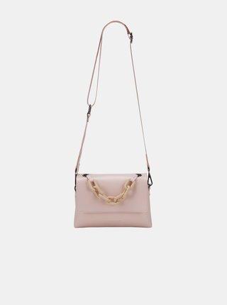 Růžová crossbody kabelka s ozdobným řetízkem Claudia Canova