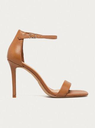 Hnedé kožené sandálky na vysokom podpätku ALDO Afendaven