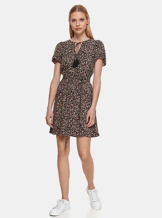Hnedé vzorované šaty so zaväzovaním TOP SECRET