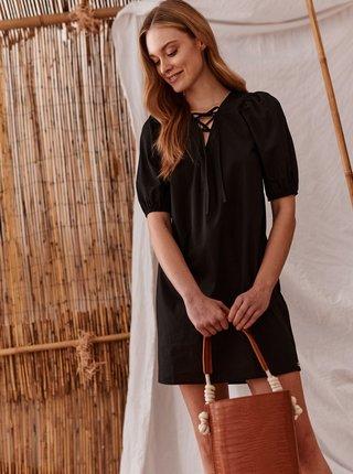 Černé šaty se zavazováním TOP SECRET