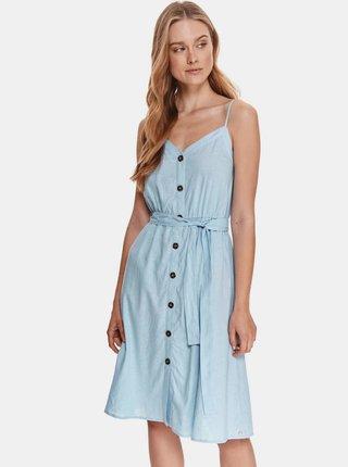 Světle modré lněné šaty se zavazováním TOP SECRET