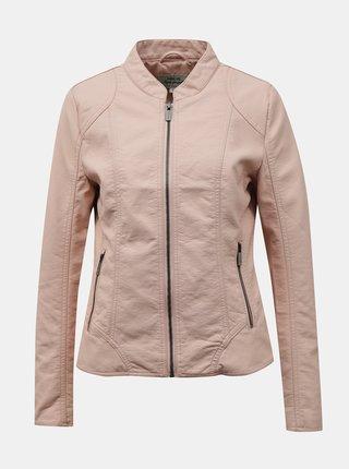 Svetloružová koženková bunda Hailys