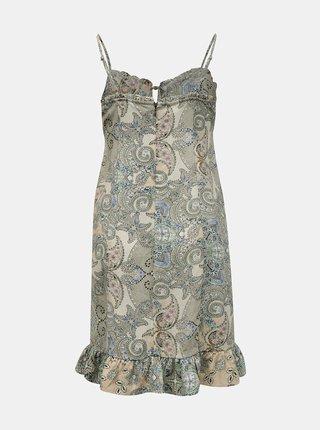 Khaki vzorované šaty na ramínka ONLY Alexa