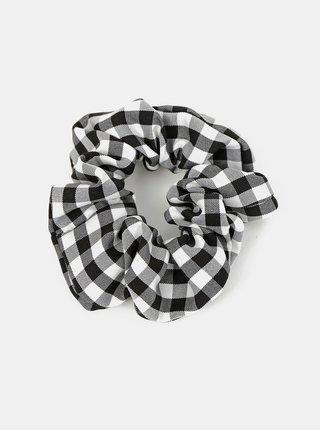 Bílo-černá kostkovaná gumička Pieces Mecks