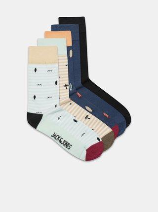 Sada pěti párů vzorovaných ponožek v oranžové a modré barvě Jack & Jones Poul