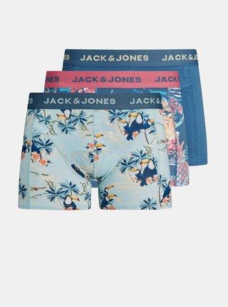 Sada troch modrých vzorovaných boxeriek Jack & Jones Tropic